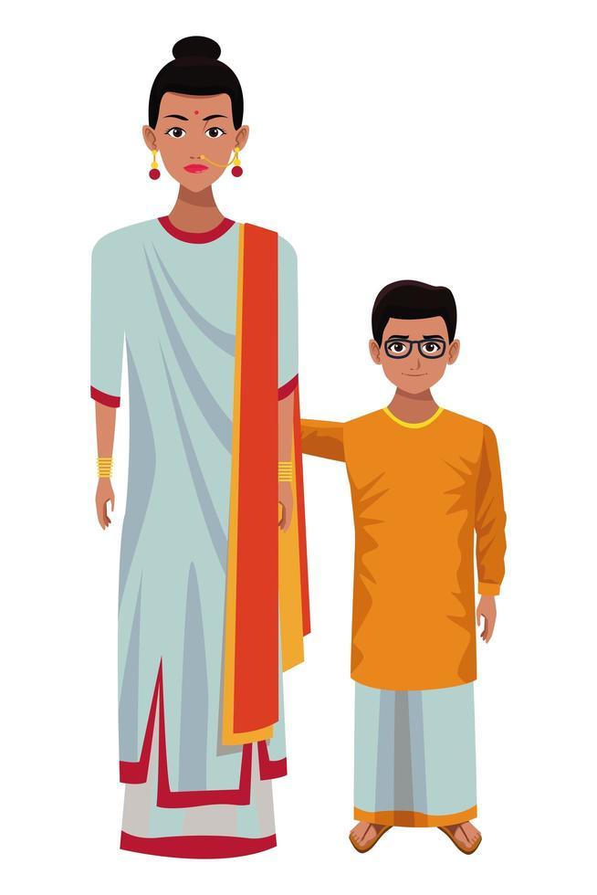 indien mère et fils vecteur