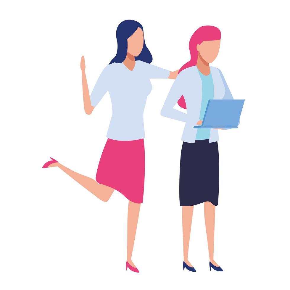 femmes d & # 39; affaires avec ordinateur portable vecteur