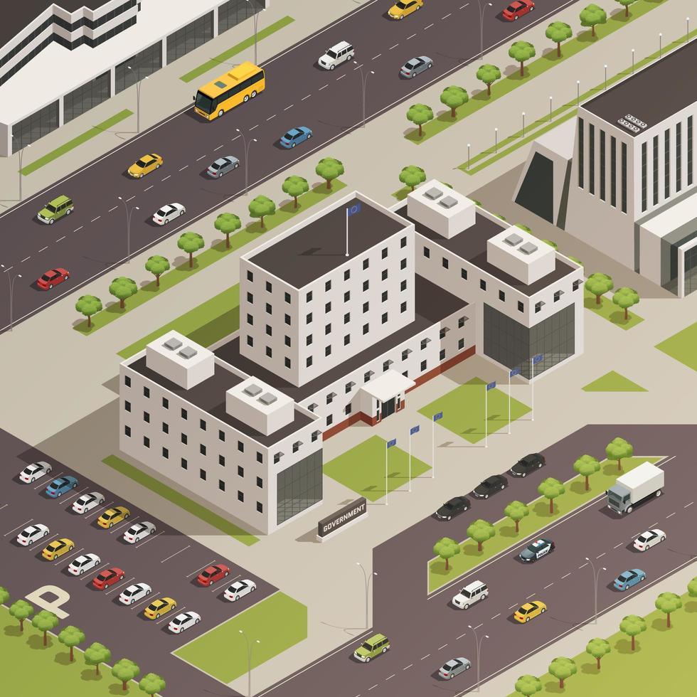 bâtiments gouvernementaux isométriques vecteur