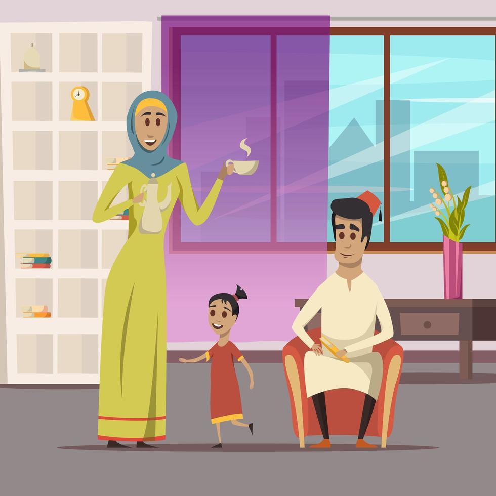 famille du Moyen-Orient dans le salon vecteur
