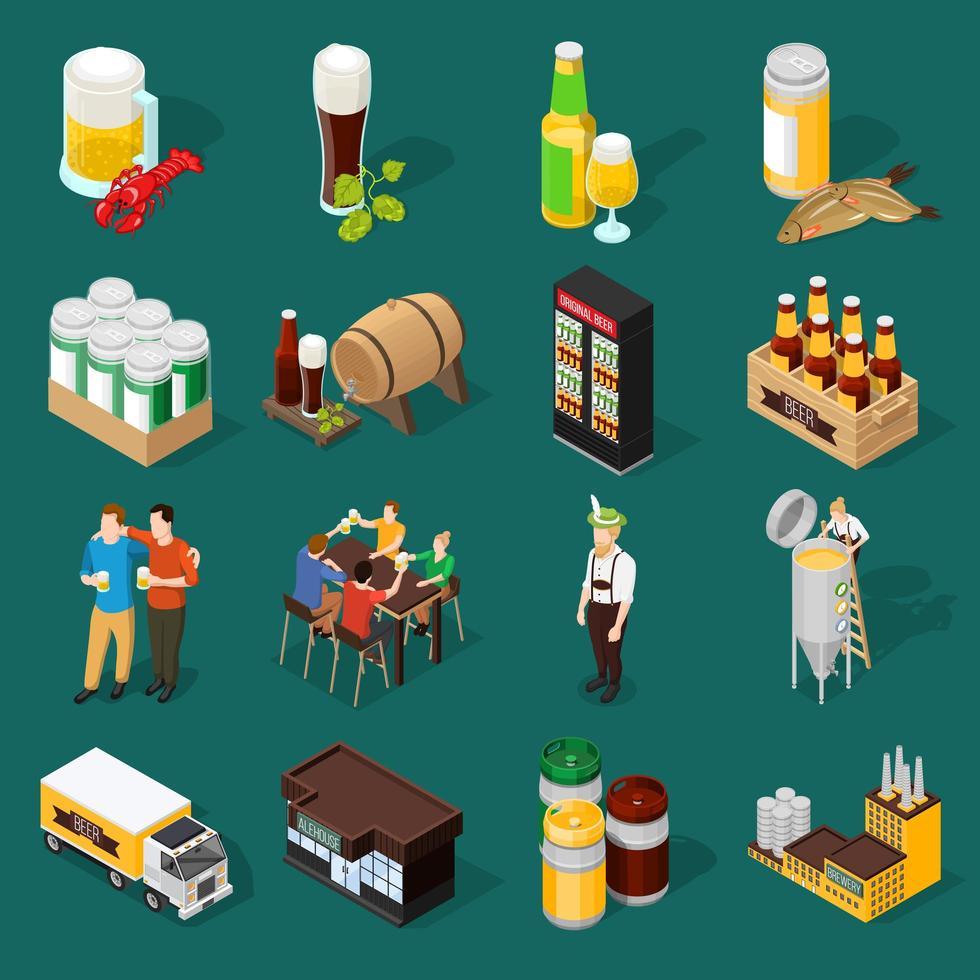 jeu d'icônes de l'industrie de la bière isométrique vecteur