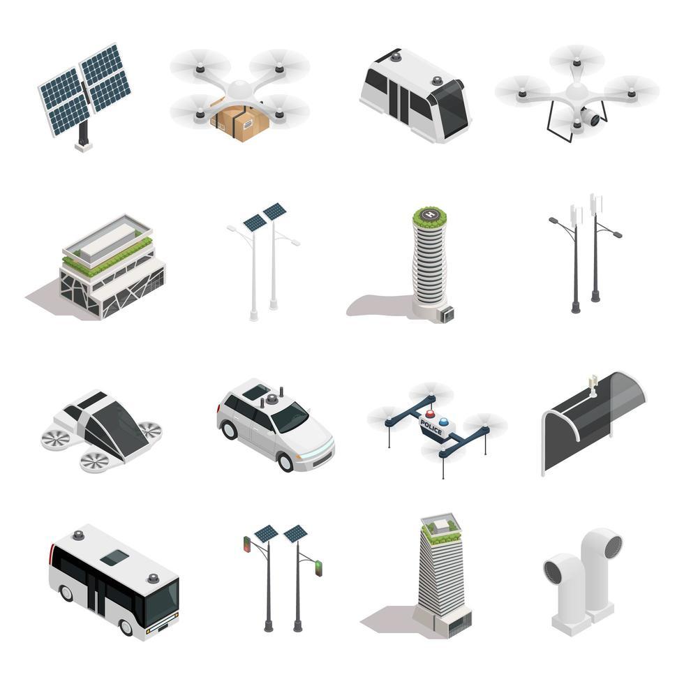 jeu d'icônes de technologie de ville intelligente isométrique vecteur