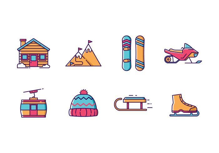 Sports d'hiver et vacances Icon Pack vecteur