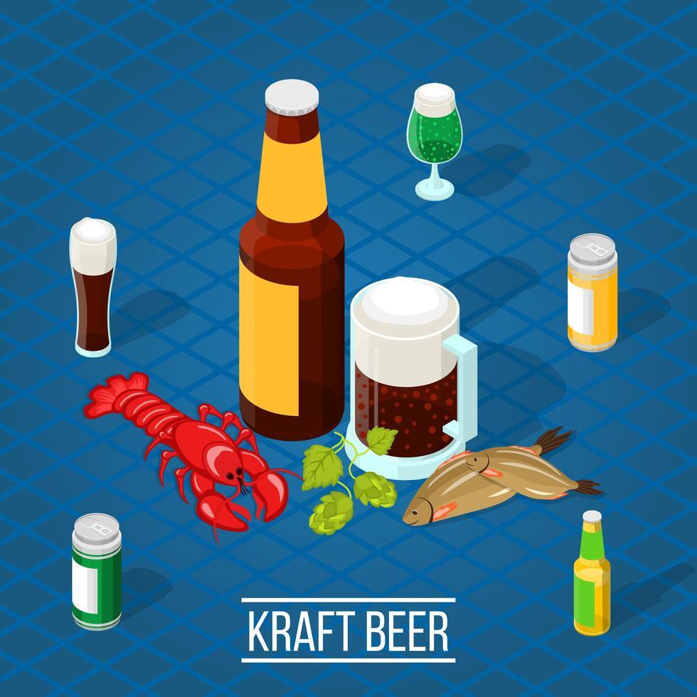 affiche de bière kraft isométrique vecteur