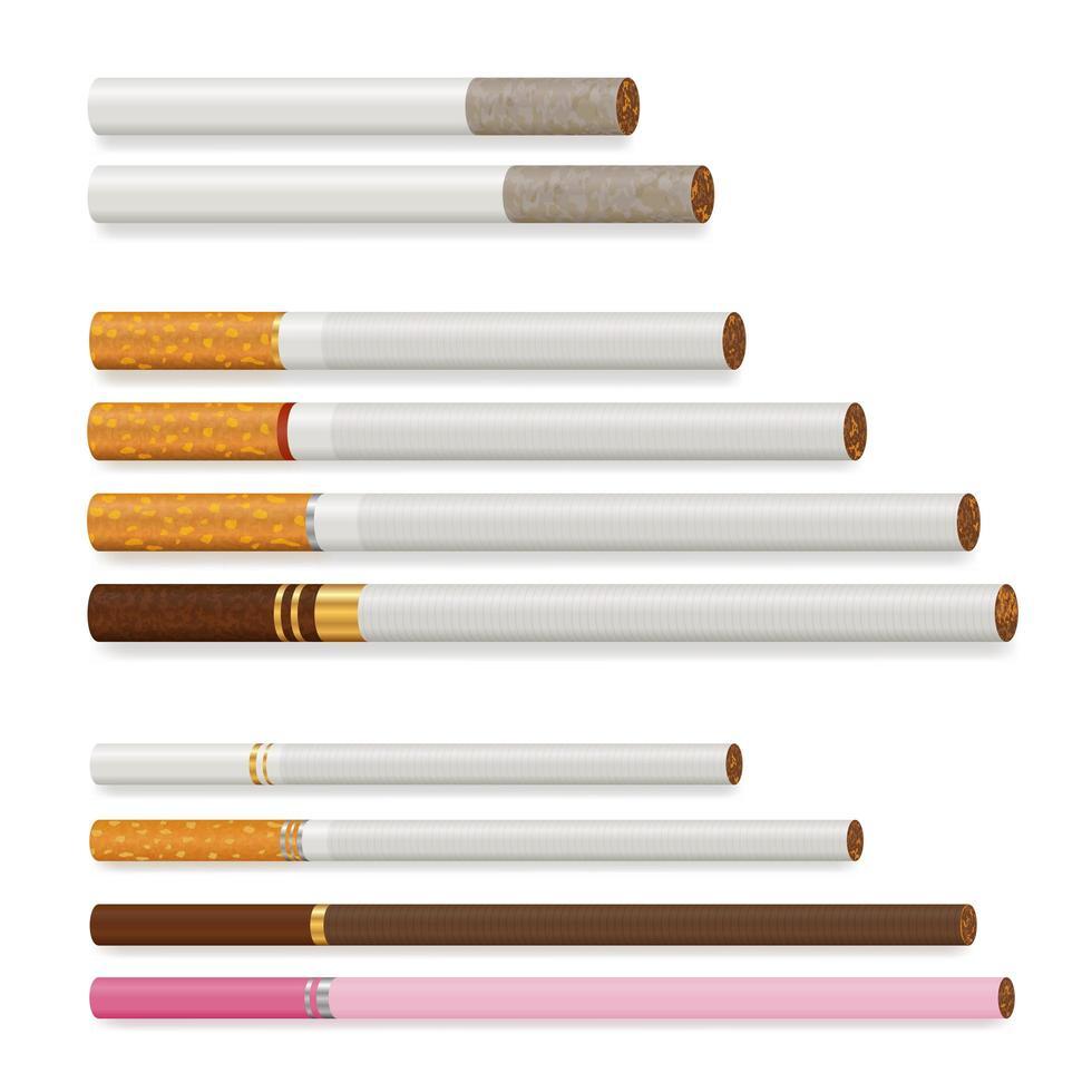 ensemble de cigarettes réalistes vecteur