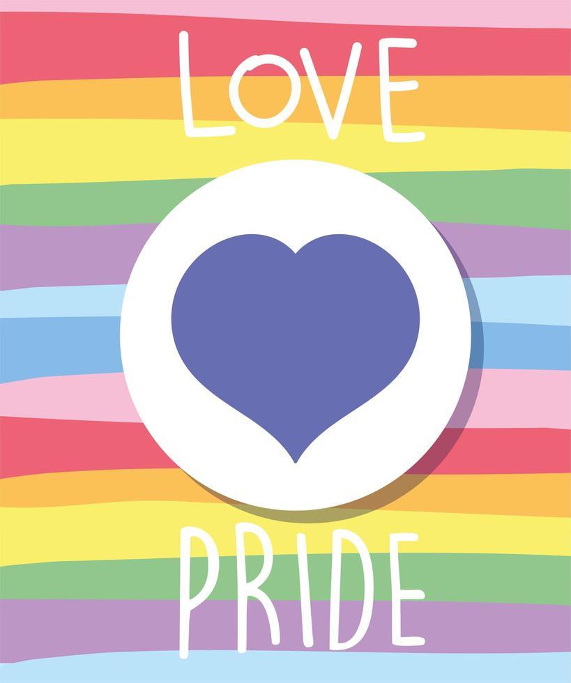amour texte de fierté avec coeur en drapeau lgbti vecteur