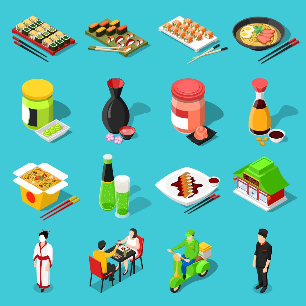 ensemble de cuisine asiatique isométrique vecteur