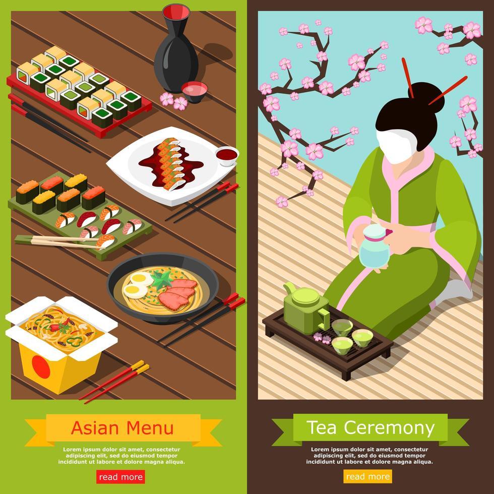 ensemble de bannières de nourriture et de boisson asiatiques isométriques vecteur