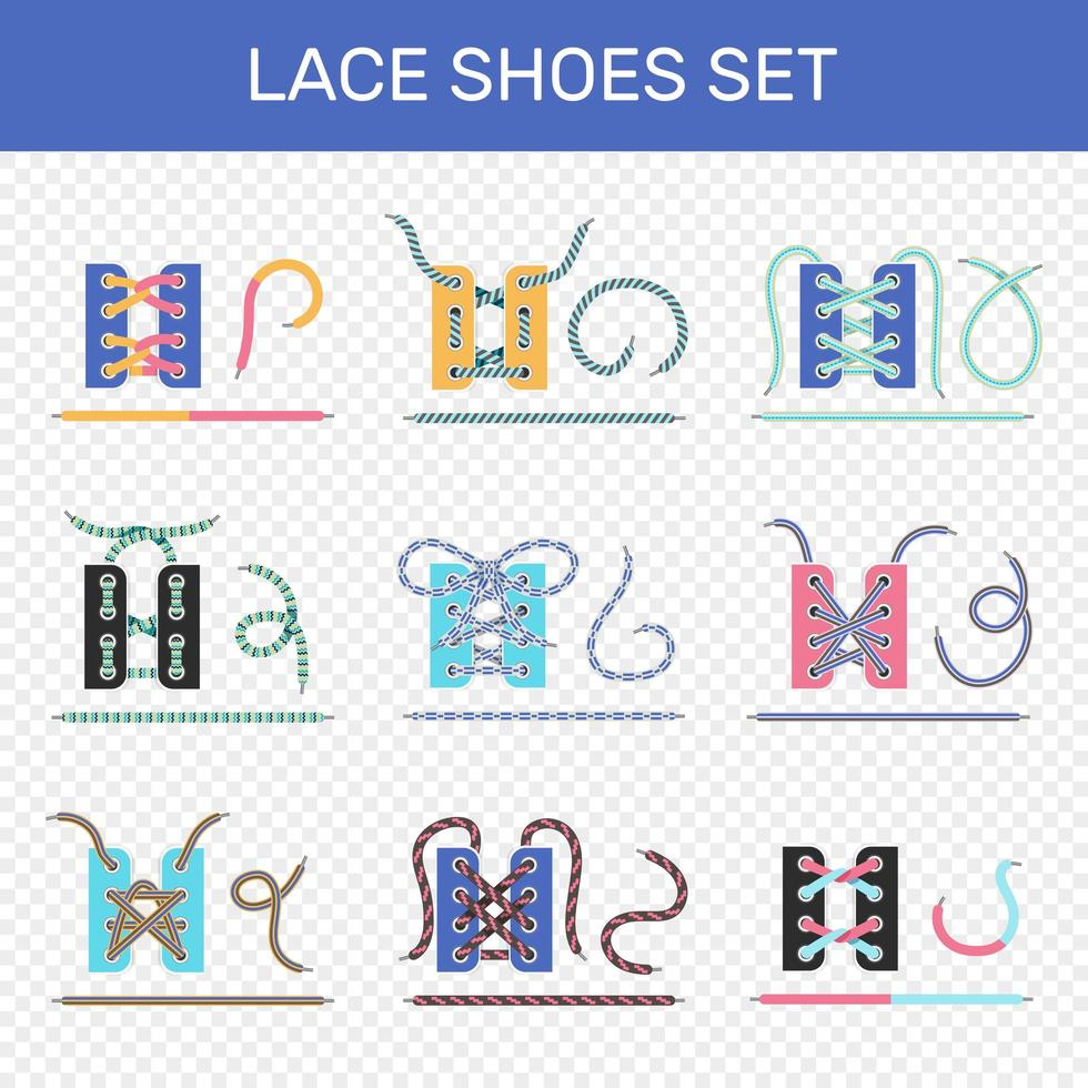 ensemble de tutoriels de laçage de chaussures vecteur