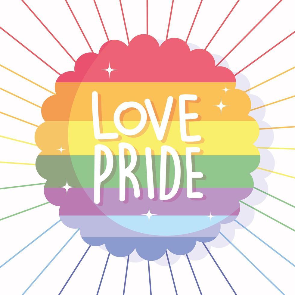 amour fierté dans le timbre de sceau de drapeau lgbti vecteur