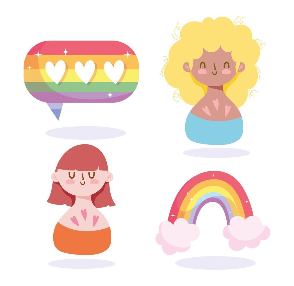 dessins animés de filles avec arc-en-ciel lgbti vecteur