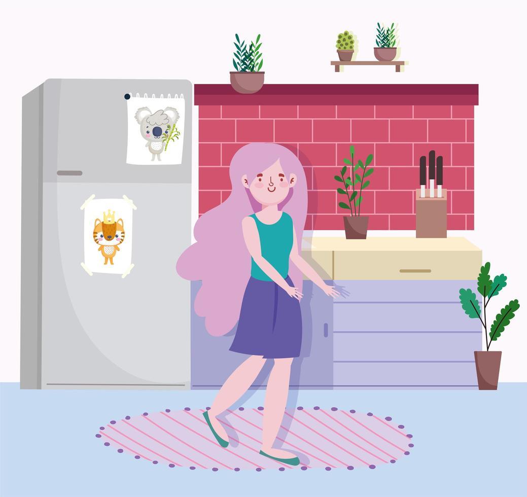 fille avec réfrigérateur et comptoir dans la cuisine vecteur