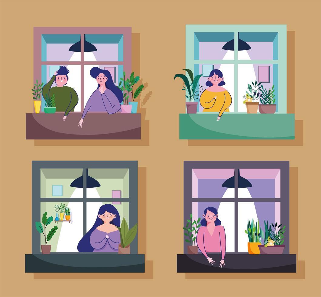 personnes regardant par la fenêtre de leur appartement vecteur