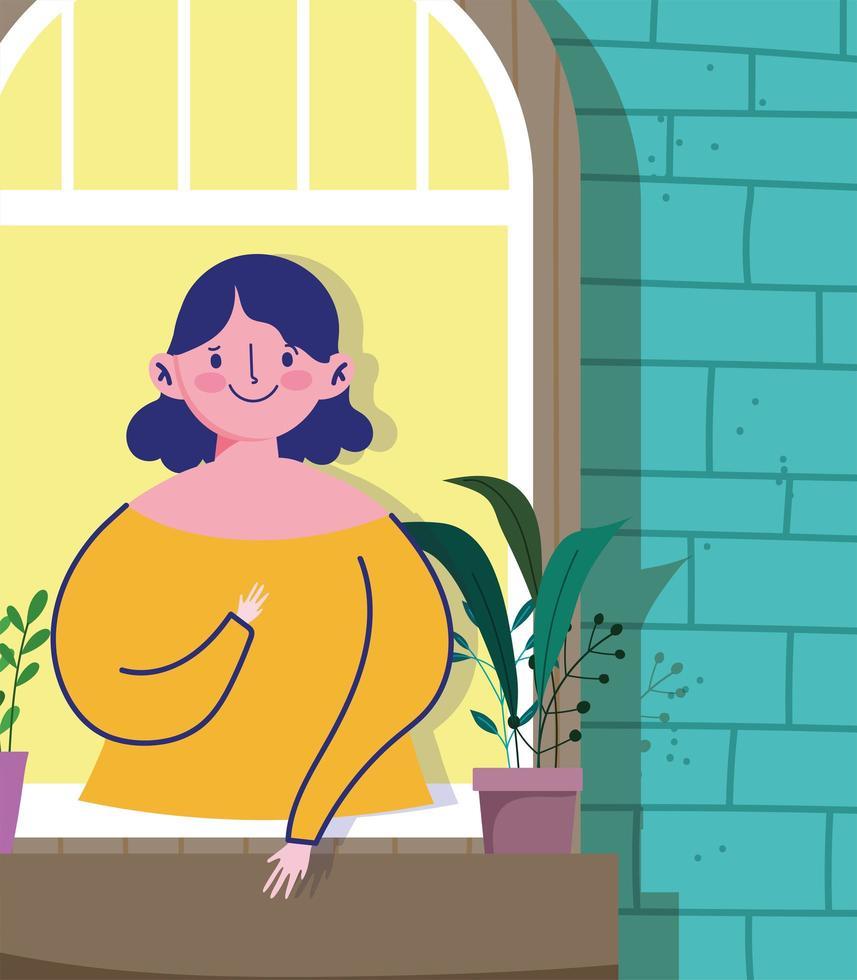 femme regardant la fenêtre avec plante en pot vecteur