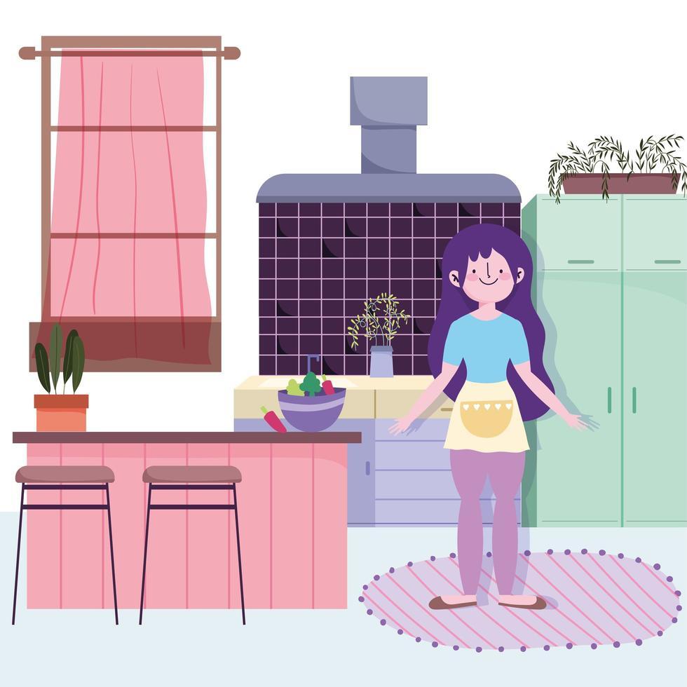 fille avec bol de légumes dans la cuisine vecteur