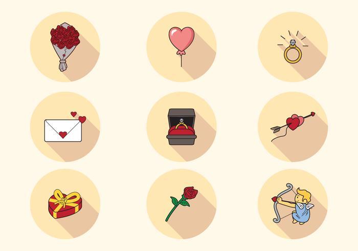 Belle San Valentin Icons vecteur