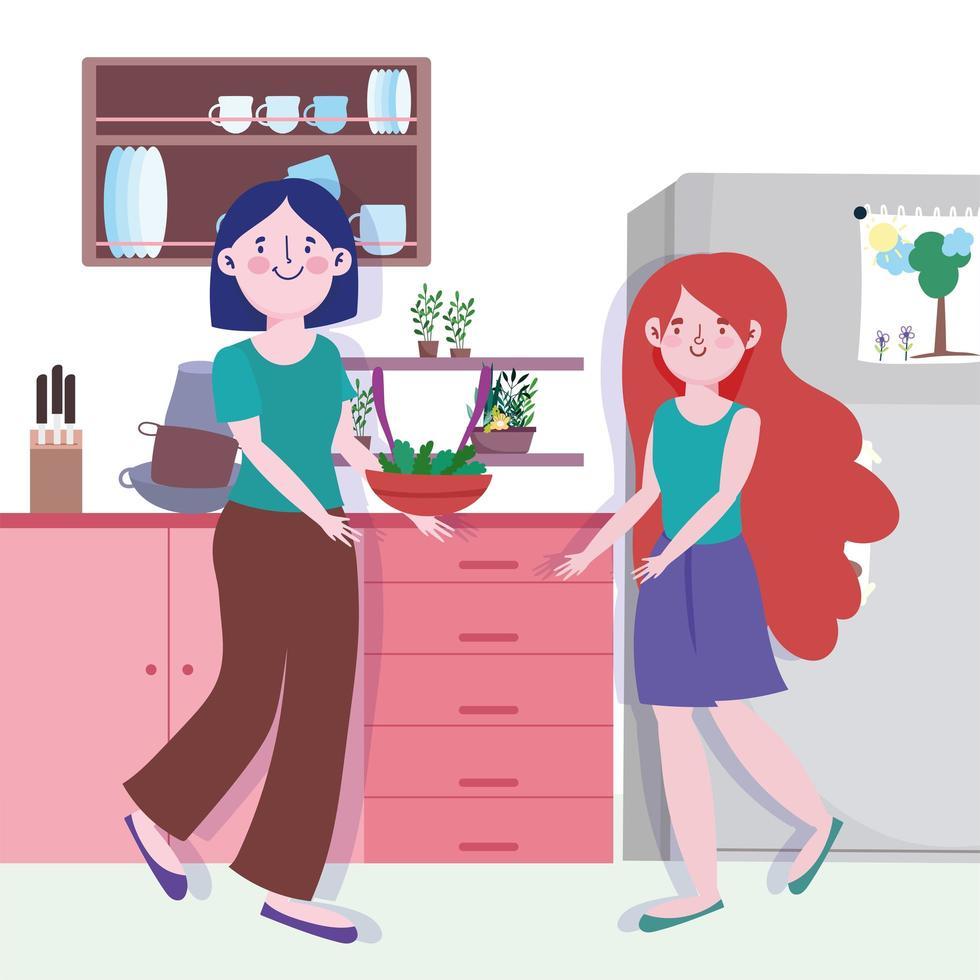 femme et fille avec des légumes dans un bol dans la cuisine vecteur