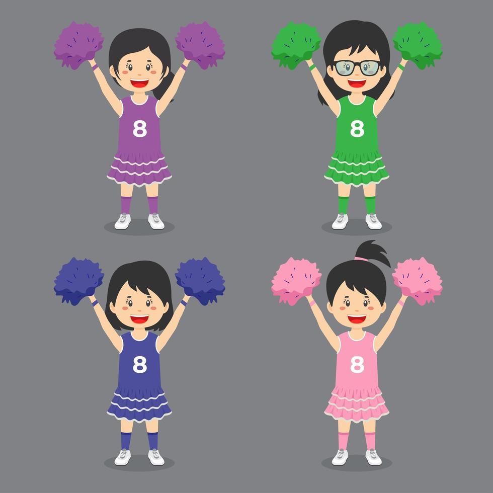 jeu de caractères de pom-pom girl vecteur