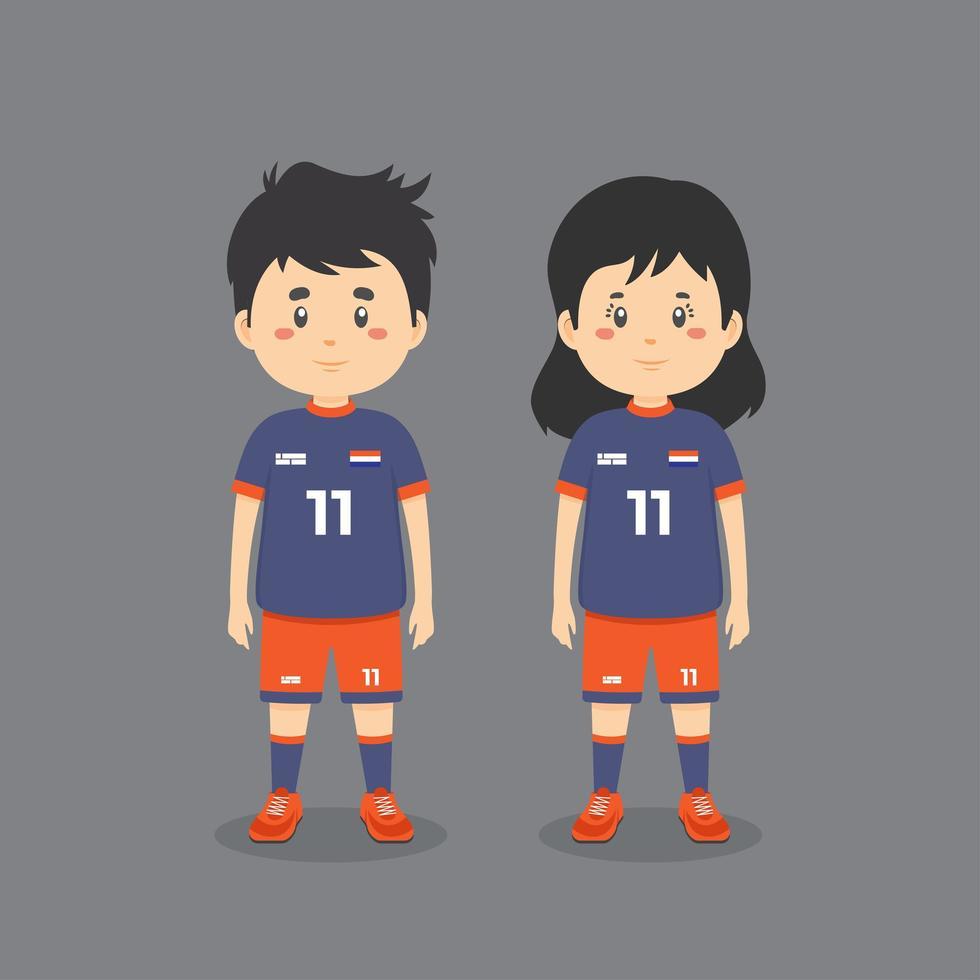 couple portant une tenue de football vecteur