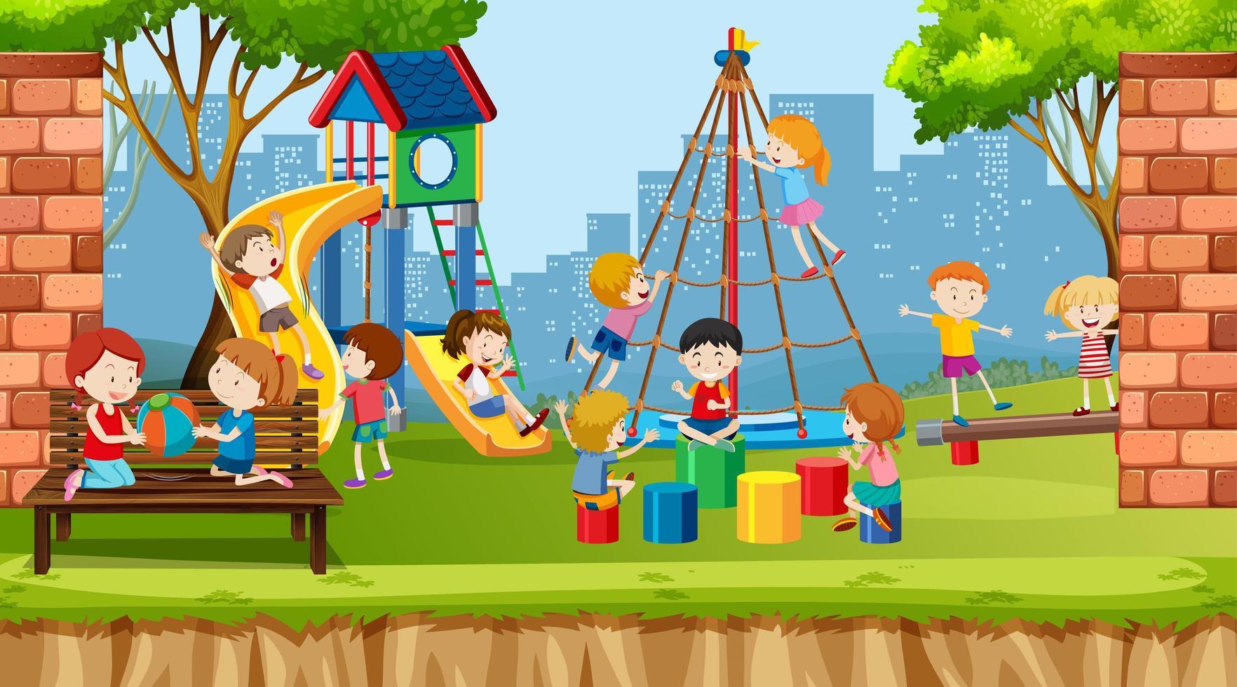 garçons et filles actifs et amis jouant vecteur