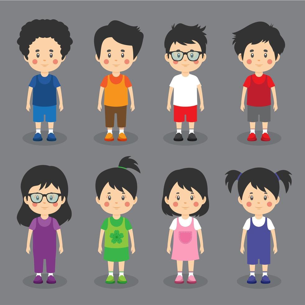 petits personnages sympathiques pour enfants vecteur