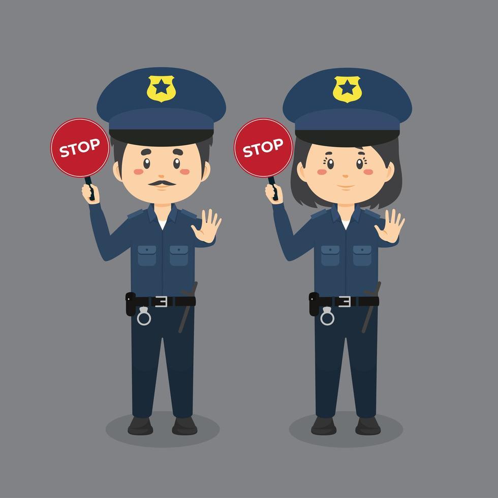 police, tenue, panneau stop vecteur