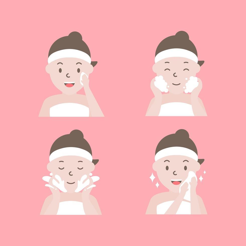 comment nettoyer les étapes du visage vecteur