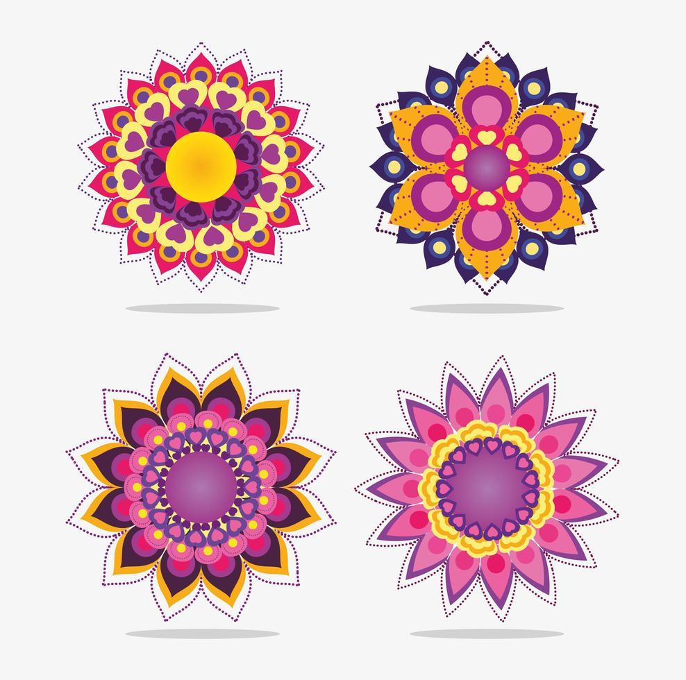 ensemble de conception de fleurs de mandala vecteur