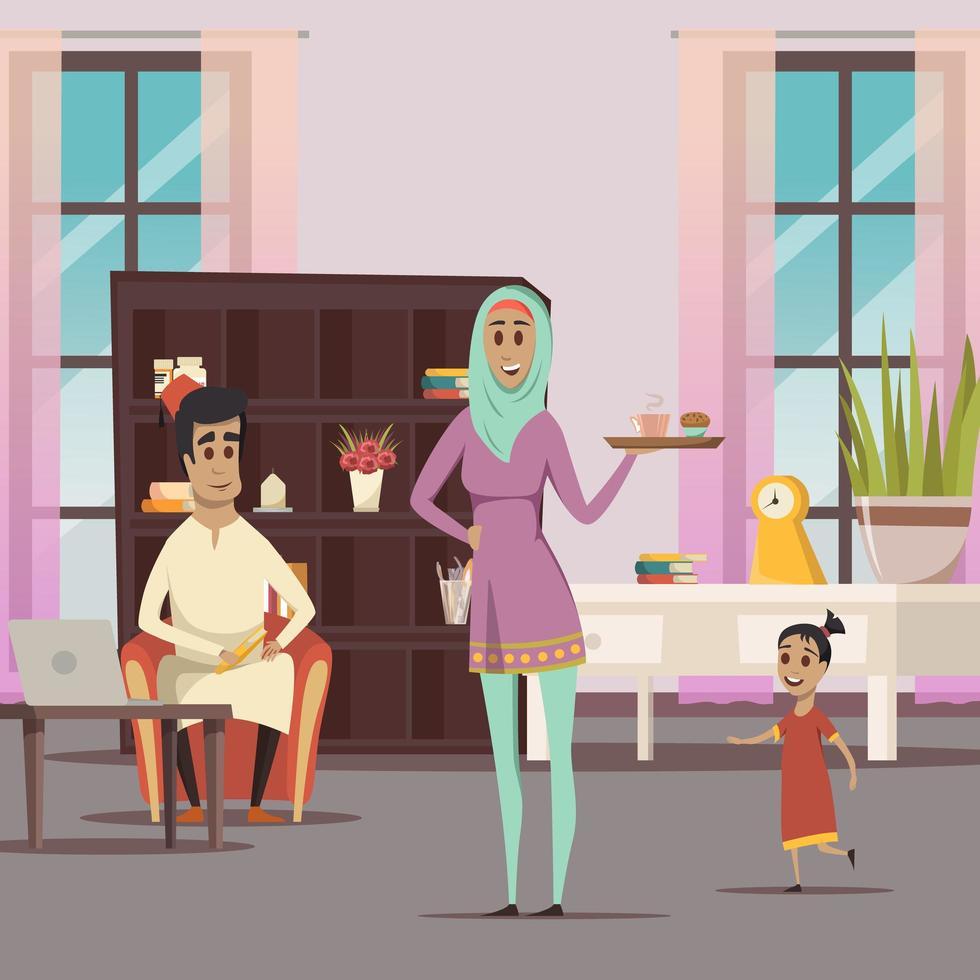 famille du Moyen-Orient à la maison vecteur