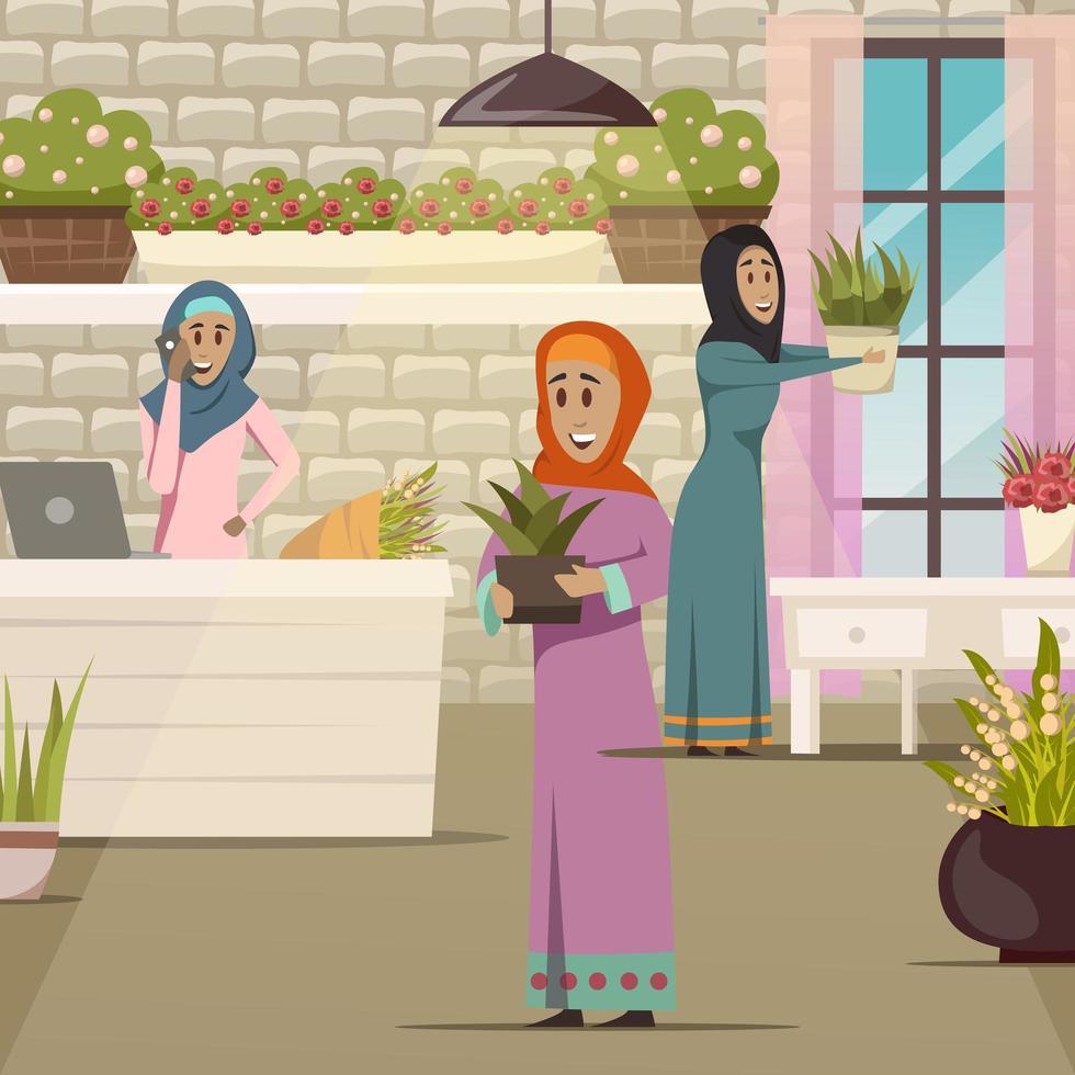 femmes du Moyen-Orient dans un magasin de fleurs vecteur