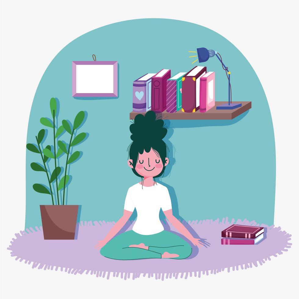 jeune femme, dans, yoga, lotus, pose vecteur