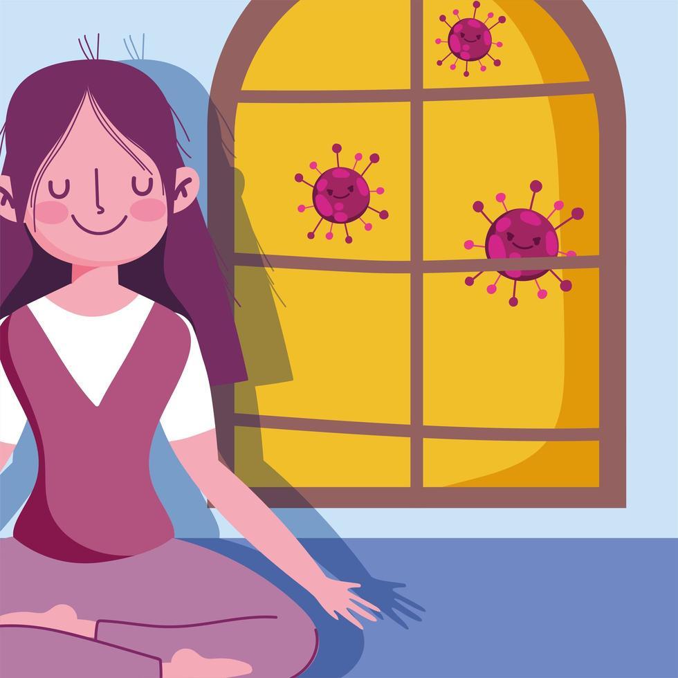 fille en pose de yoga près de la fenêtre vecteur