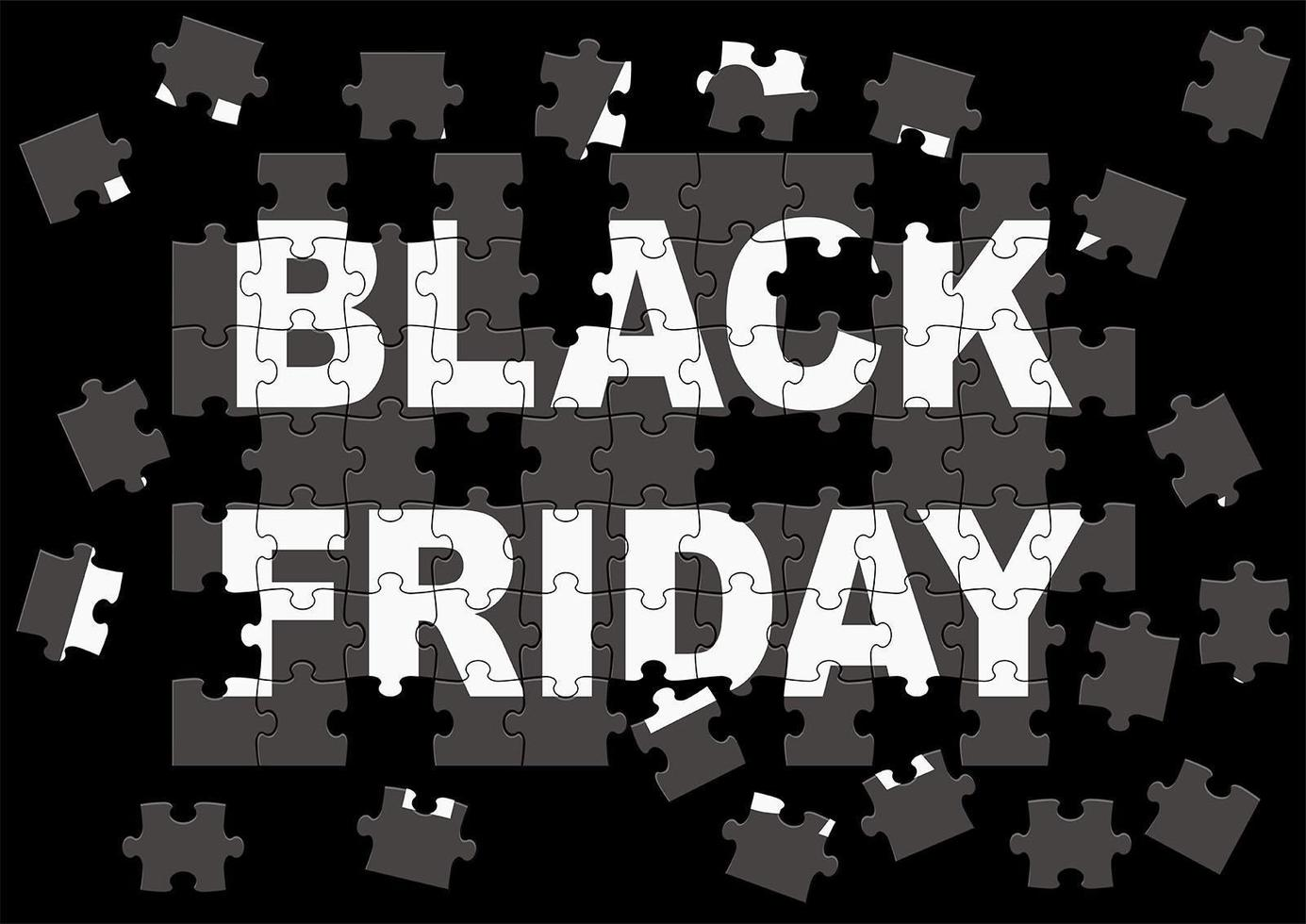 conception d'affiche de puzzle de vente vendredi noir vecteur