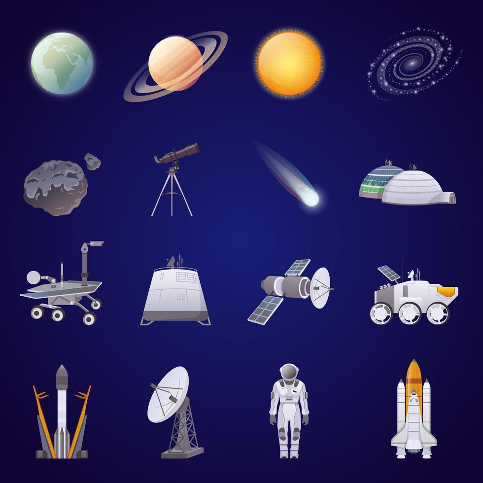 ensemble d'éléments aériens et spatiaux vecteur
