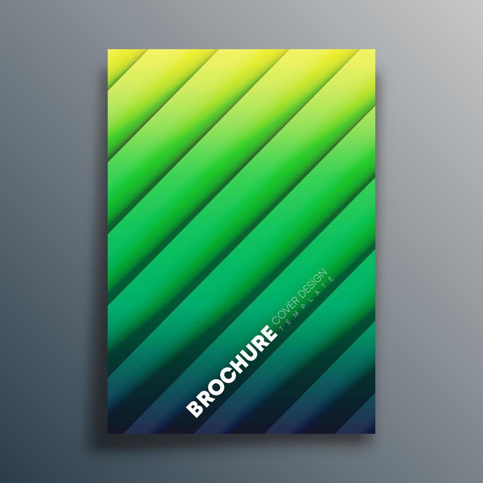 modèle de couverture vert dégradé avec des lignes diagonales vecteur