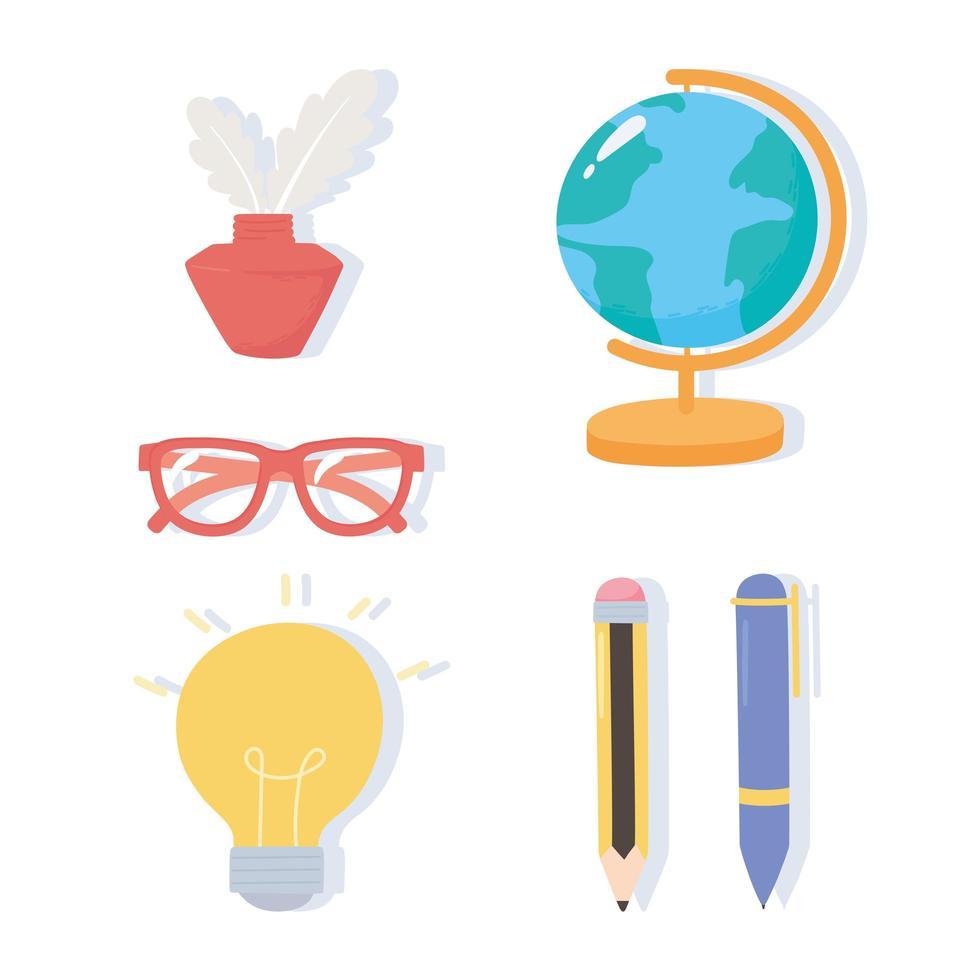 carte du globe, encre, lunettes, stylo et icônes de crayon vecteur