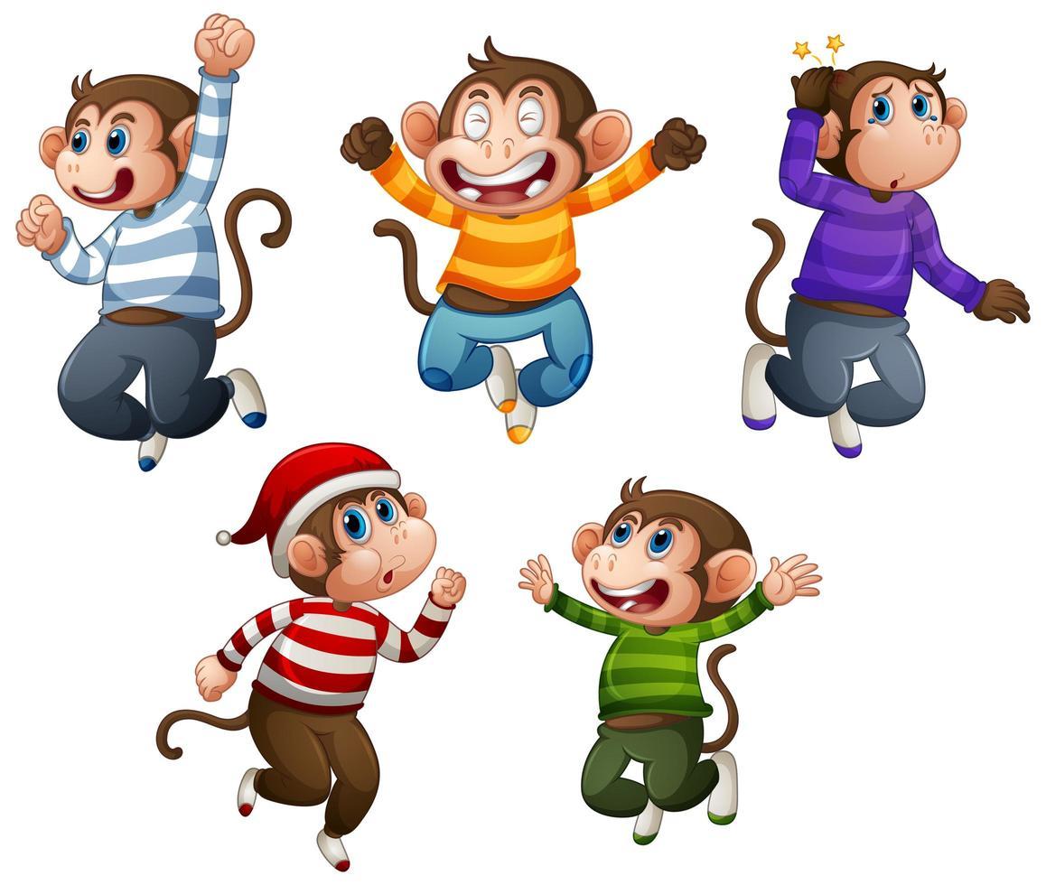 quatre singes portent un t-shirt en sautant sur blanc vecteur