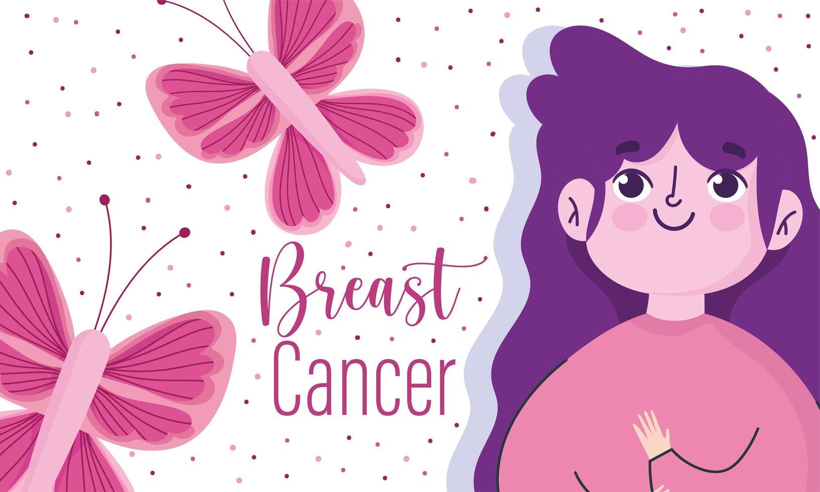 femme de bande dessinée mois de sensibilisation au cancer du sein vecteur