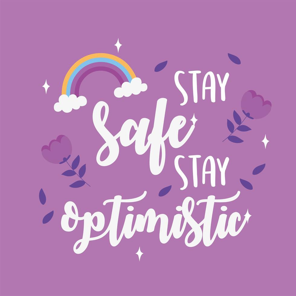 restez en sécurité, restez optimiste. carte de motivation vecteur