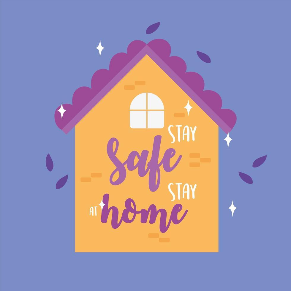 messages de coronavirus. rester en sécurité rester à la maison vecteur