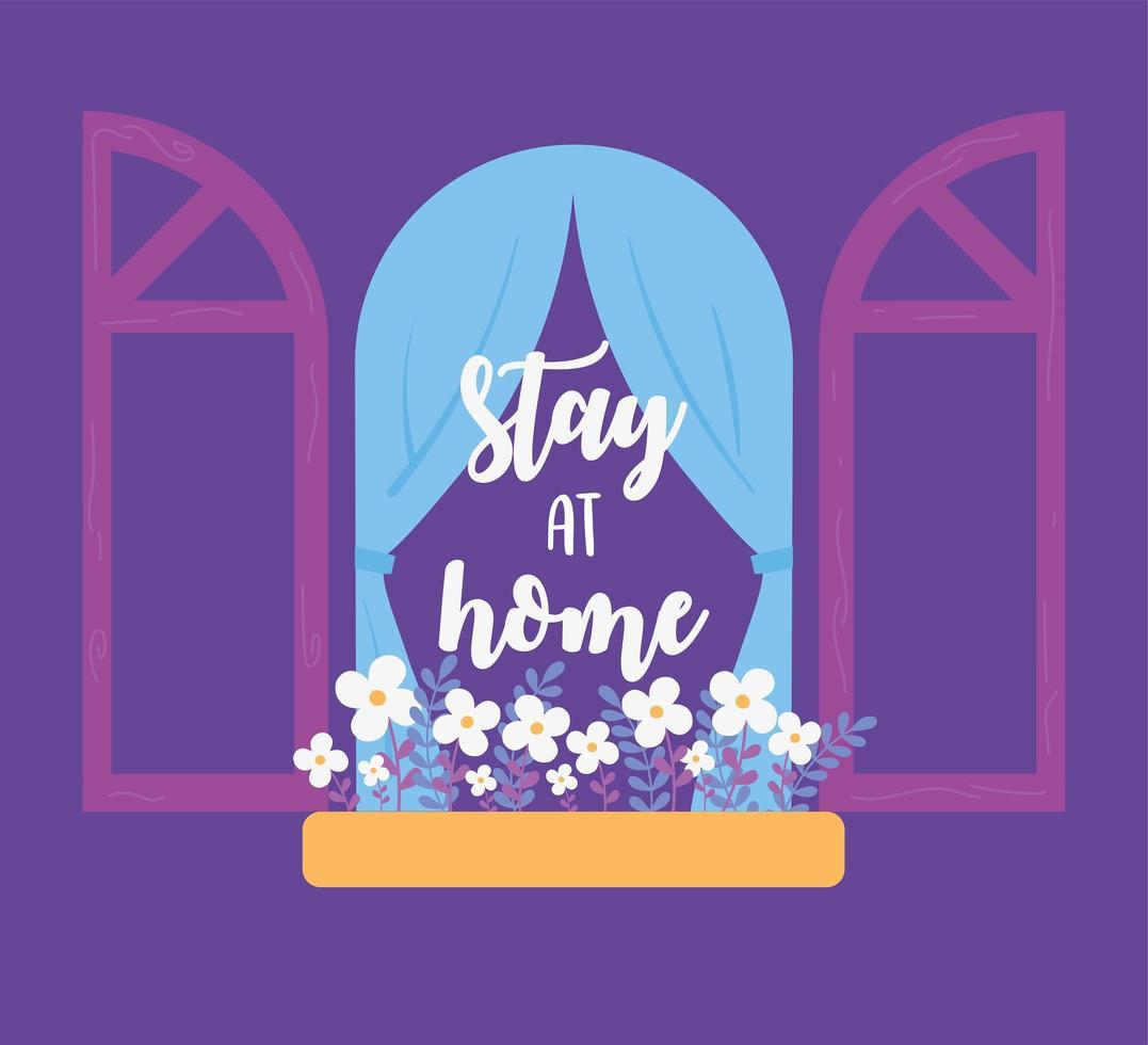 messages de coronavirus. reste à la maison. fenêtre avec des fleurs vecteur