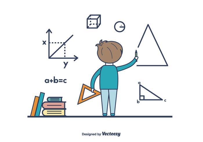 Boy Doing Math Vector