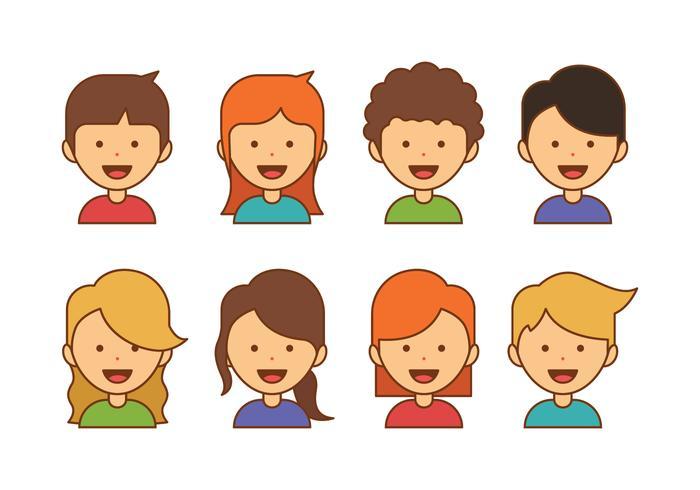 Enfants Avatar Icons vecteur