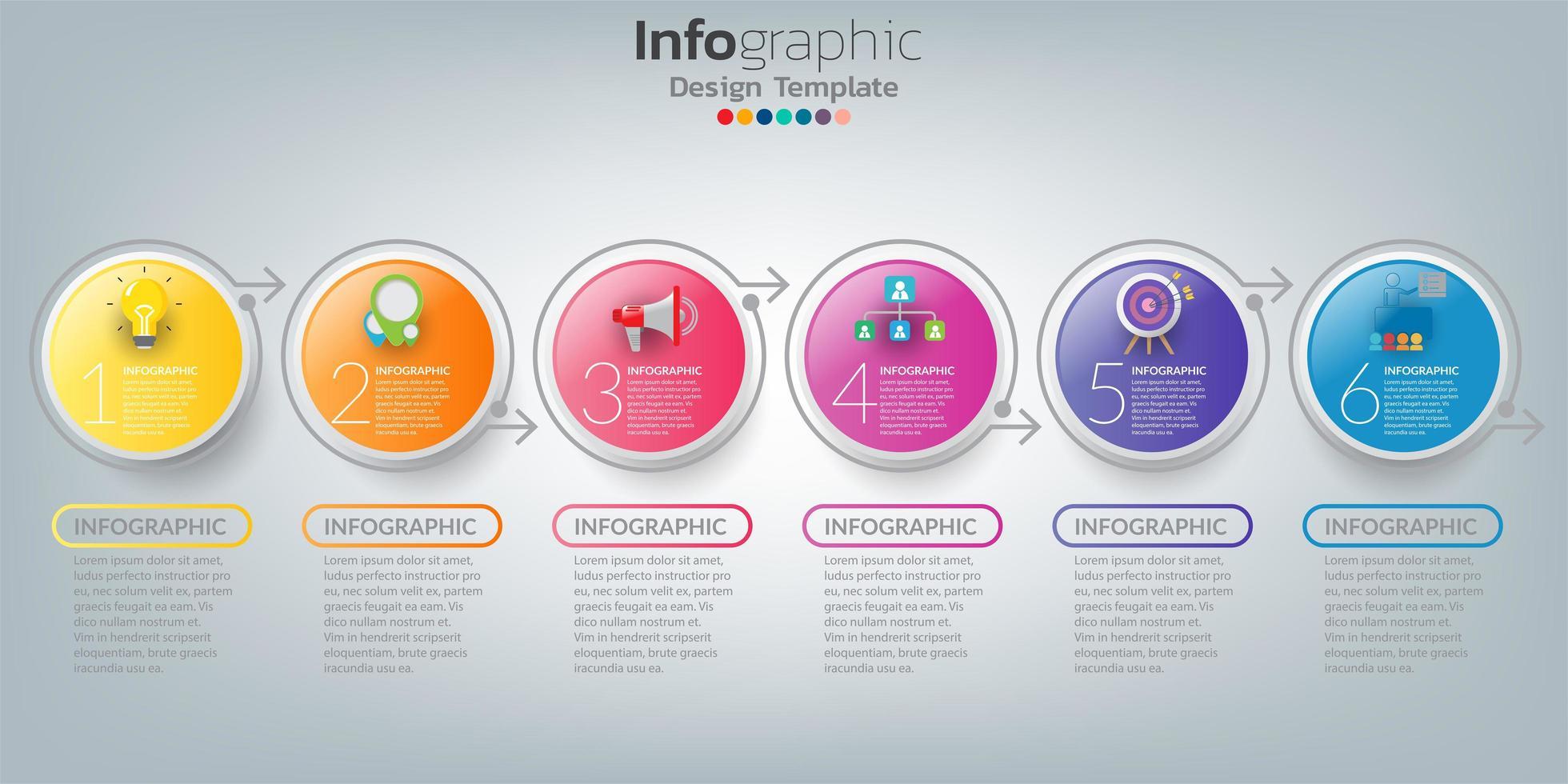 modèle de chronologie infographique avec des cercles colorés de 6 étapes vecteur