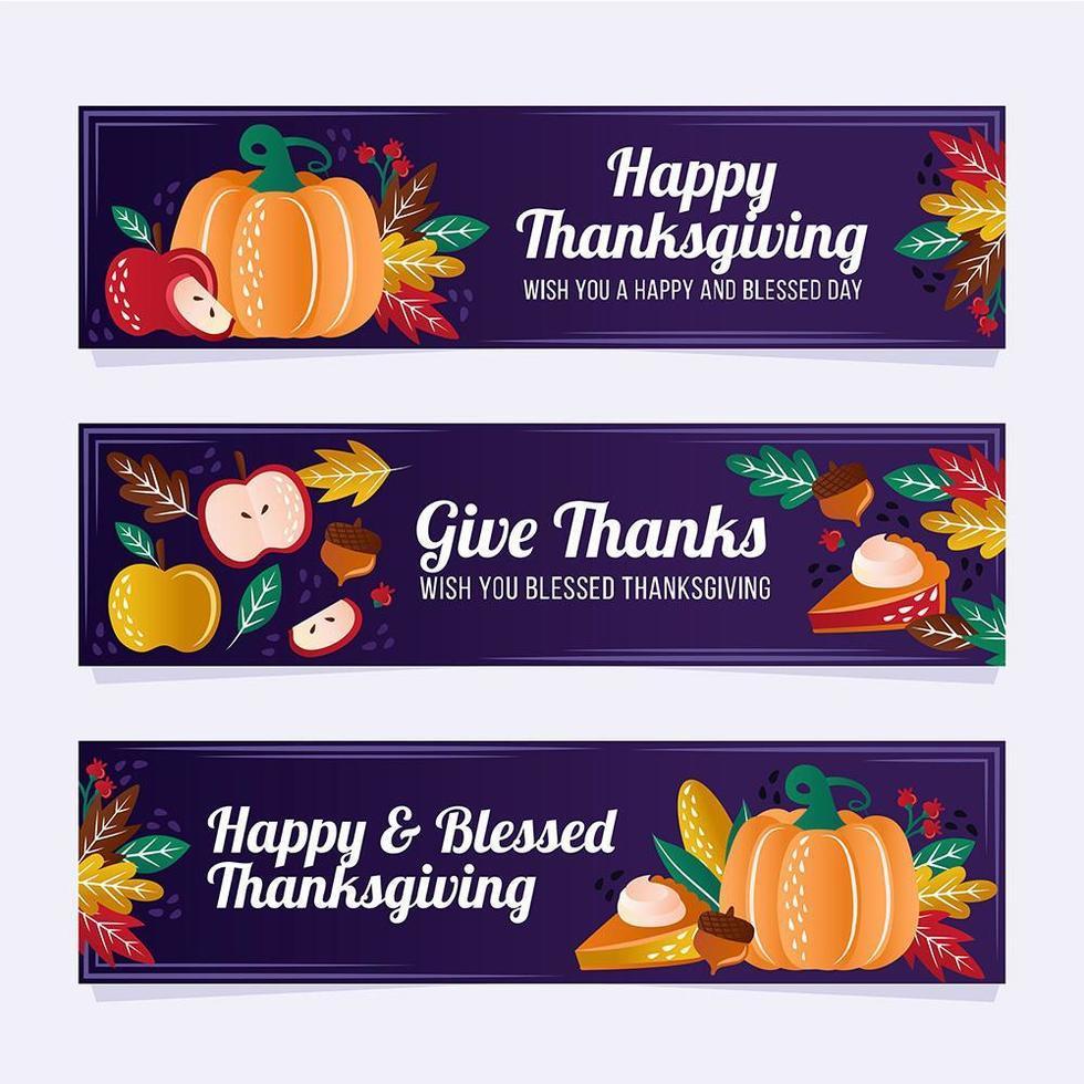 bannières colorées de Thanksgiving dessinées à la main vecteur