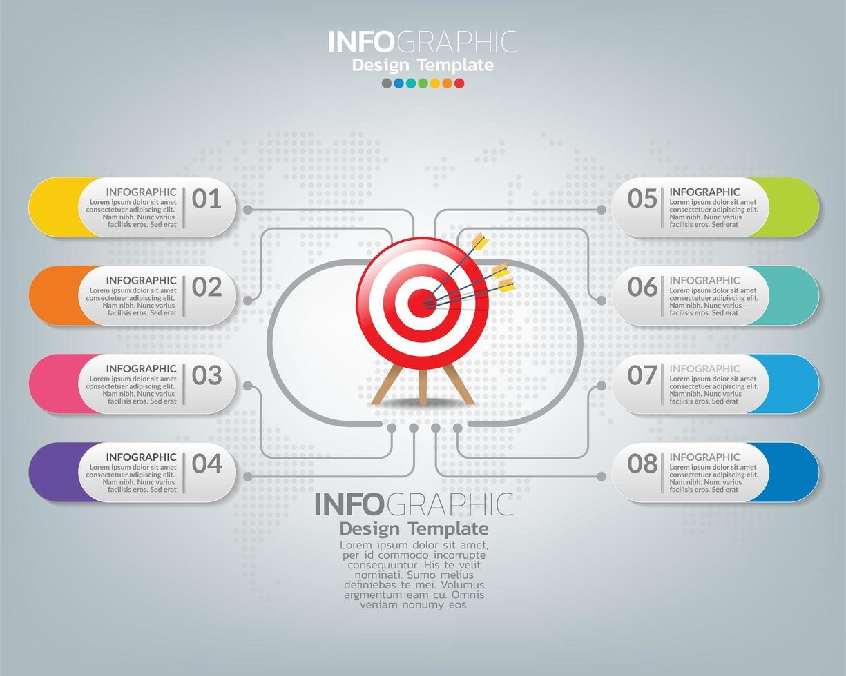 modèle infographique avec des icônes de marketing numérique vecteur