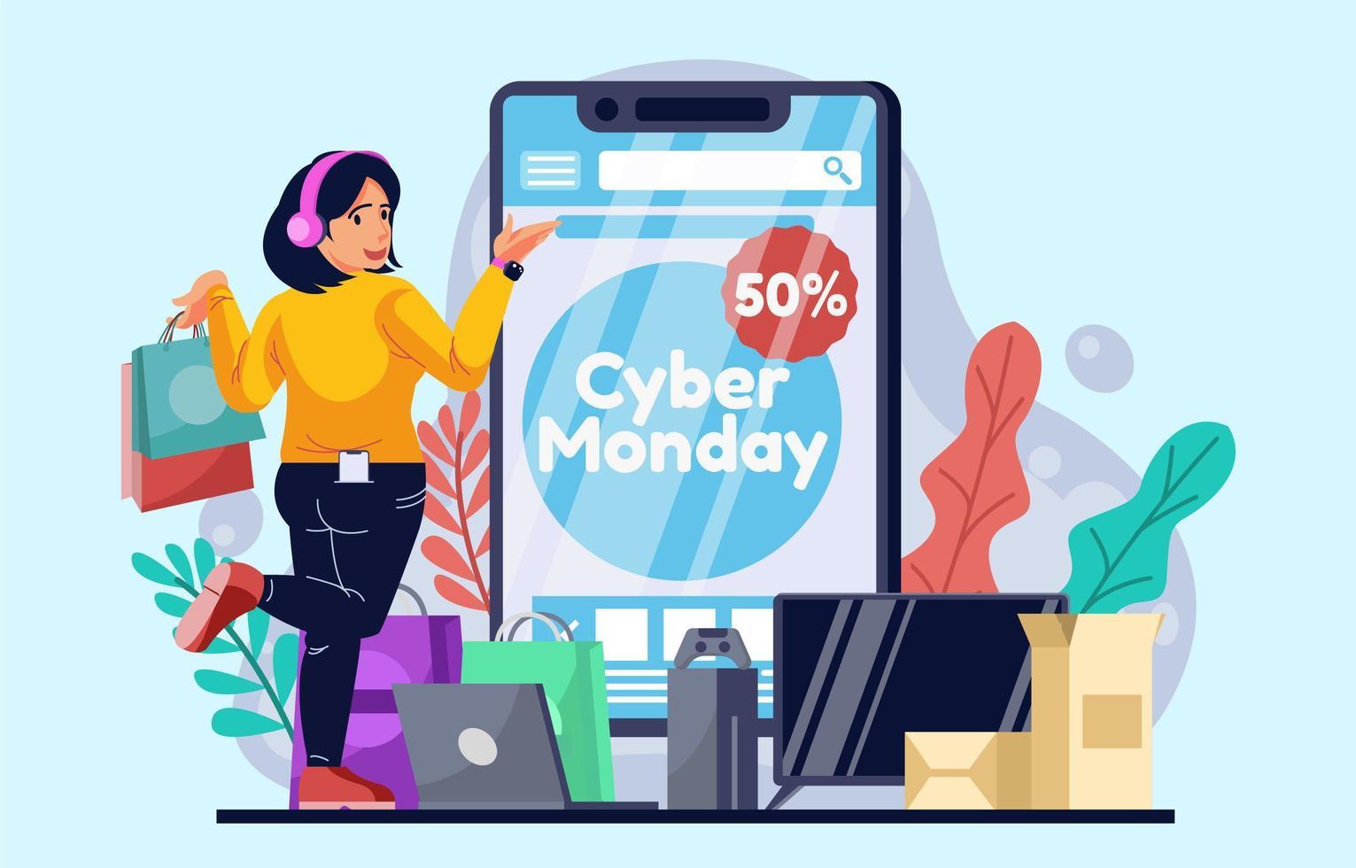 cyber lundi achats en ligne sur téléphone intelligent vecteur