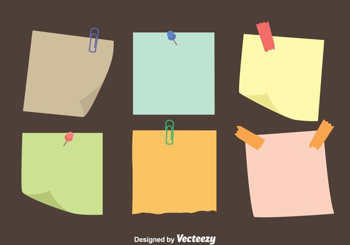 Colorful Sticky Notes Papier Vecteurs vecteur