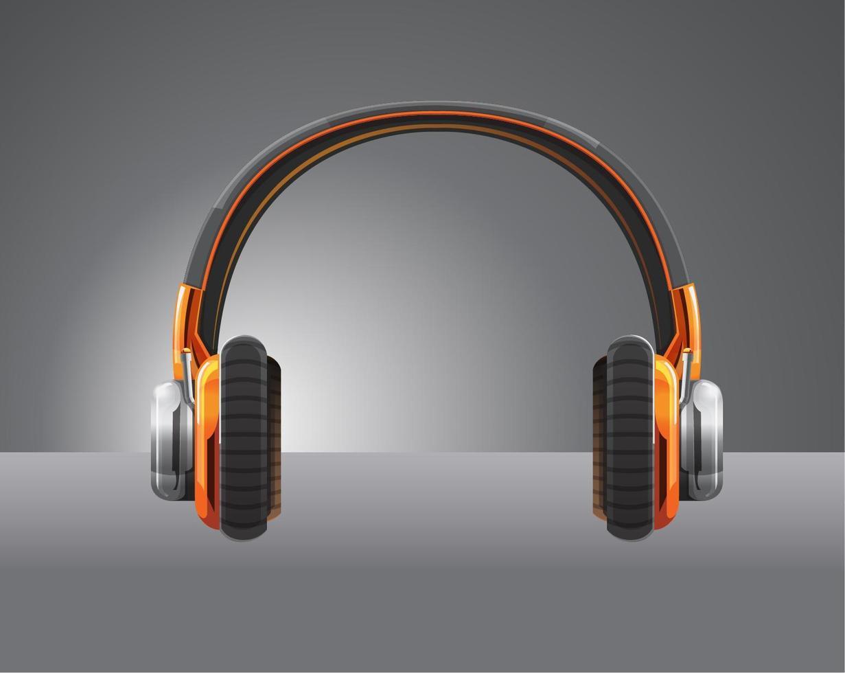 casque couleur orange vecteur