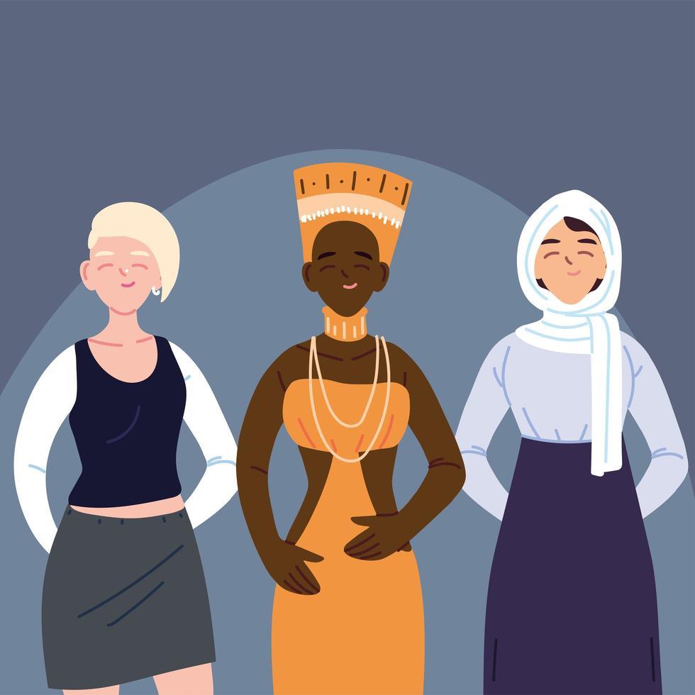 groupe diversifié de trois femmes vecteur